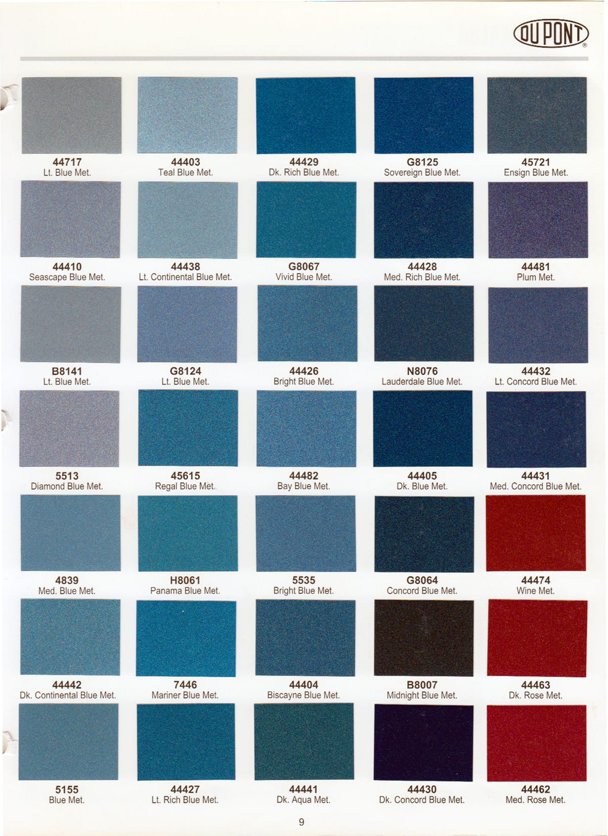 Color choice options for your frame.